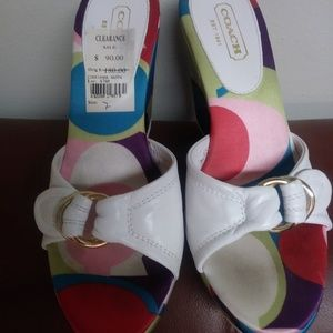 Coach Corryanna Wedge Leather Sandals - Size 7